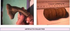 Parte de cornamenta y derecha una pieza tallada en piedra con agujero central